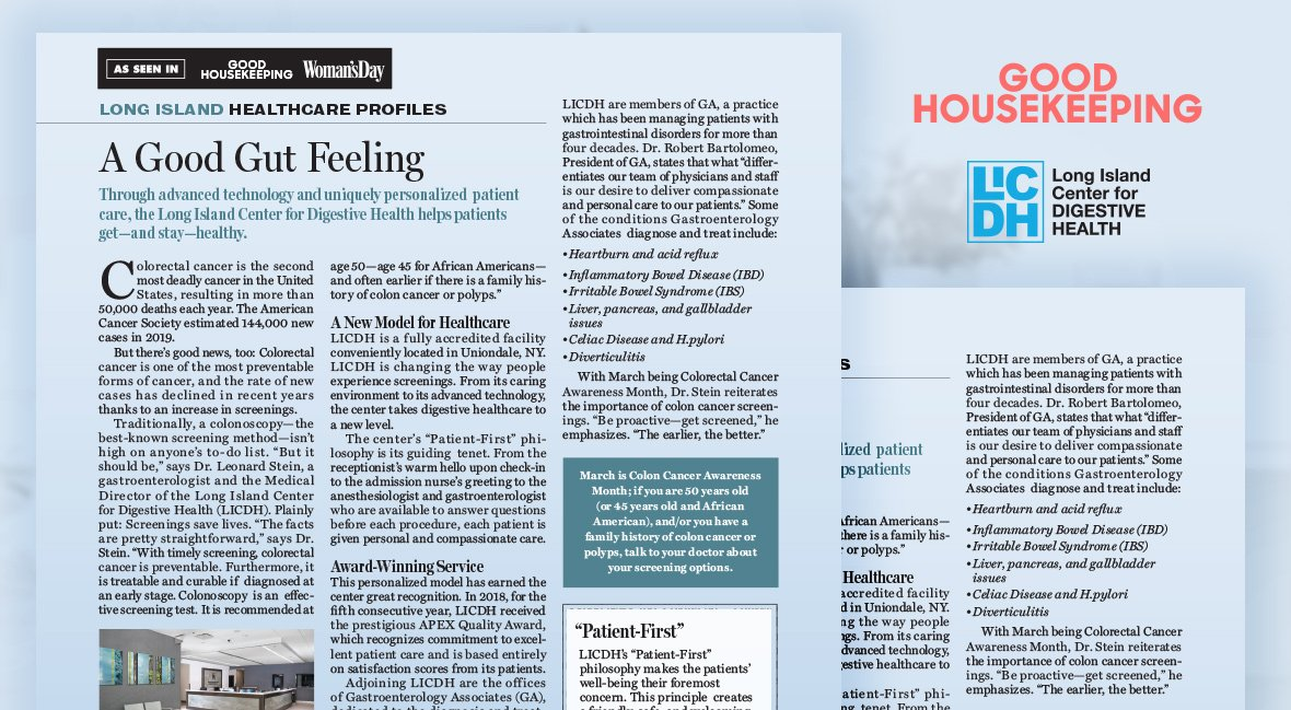 LICDH Discusses Colorectal Cancer In This Month's Good Housekeeping